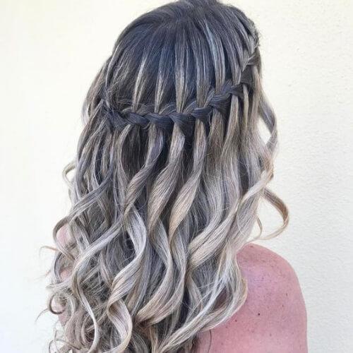 ash blonde waterfall braid with curls