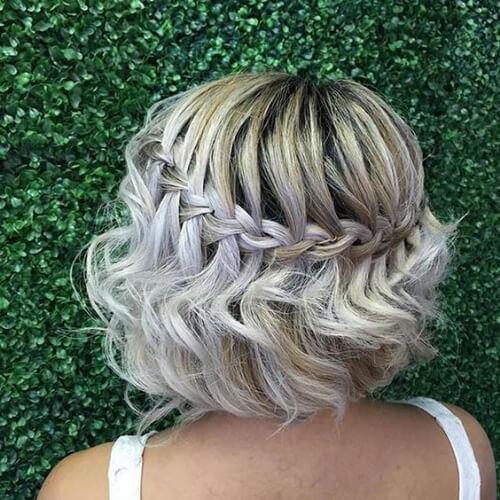 bob waterfall braid with curls