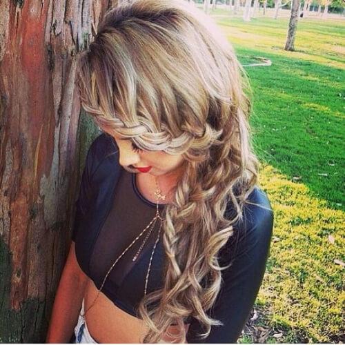 braided bangs waterfall braid with curls