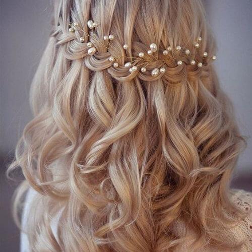 bridal waterfall braid with curls