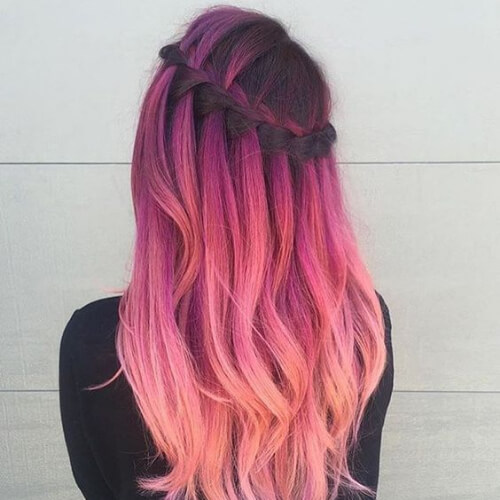 color melt waterfall braid with curls