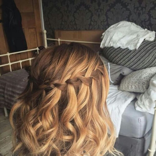 copper waterfall braid with curls