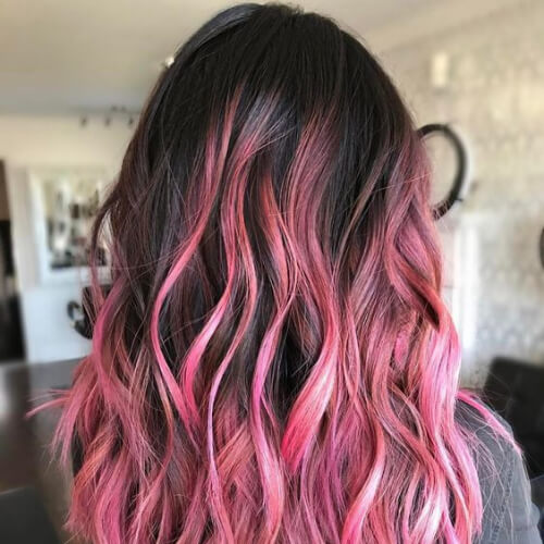 dark brown hair with pink balayage hair color for summer