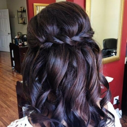 dark cocoa waterfall braid with curls