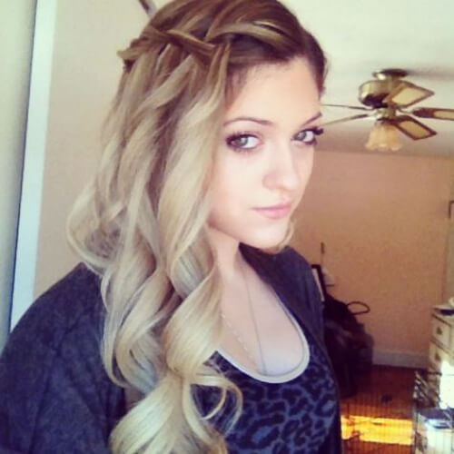 dirty blonde waterfall braid with curls