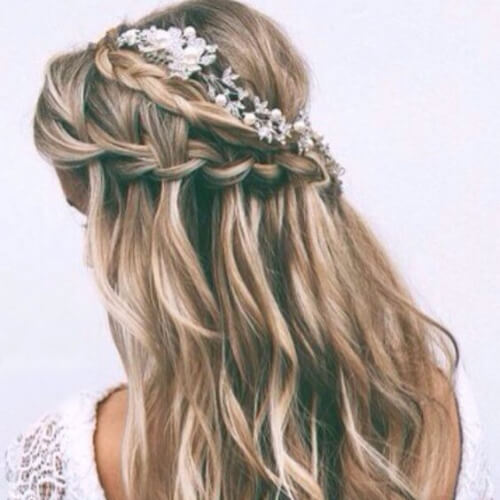 double waterfall braid with curls