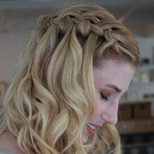 easy waterfall braid with curls