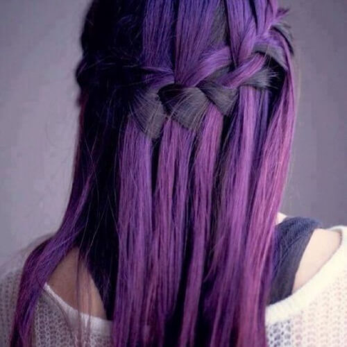 eggplant waterfall braid with curls
