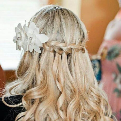 flowers waterfall briad with curls