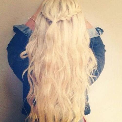 iceberg blonde waterfall braid with curls