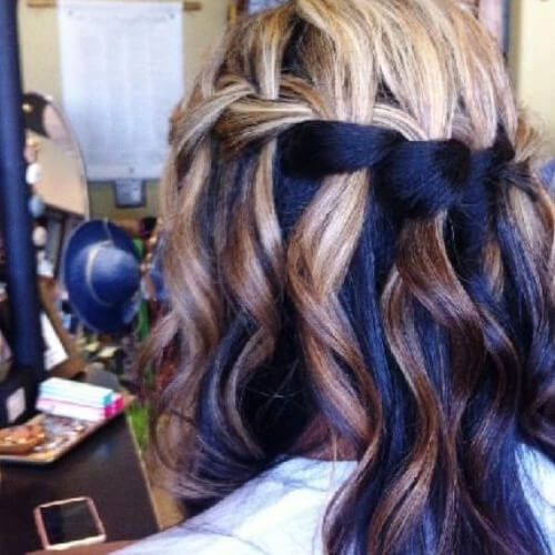 ink blue waterfall braid with curls