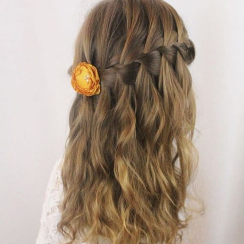 little girl waterfall braid with curls
