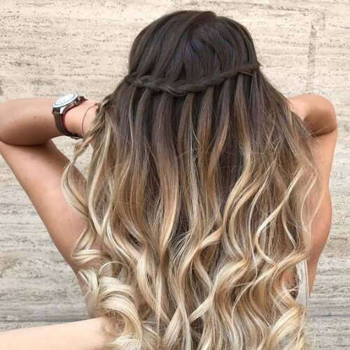 ombre waterfall braid with curls