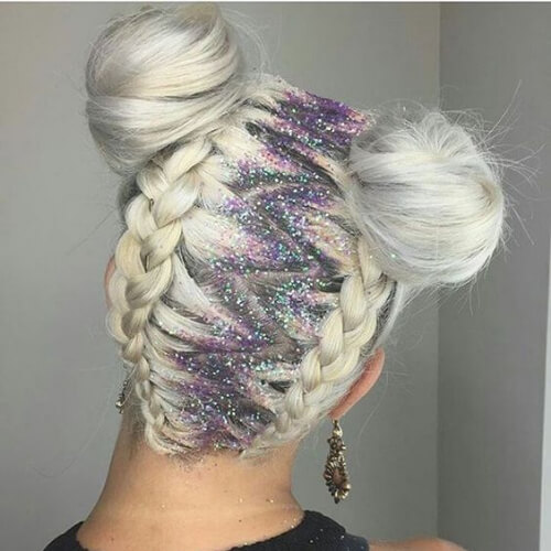 platinum blonde glitter hair color for summer