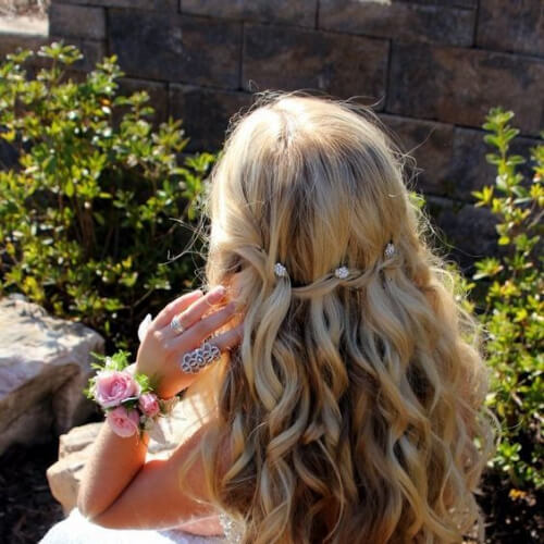prom waterfall braid with curls