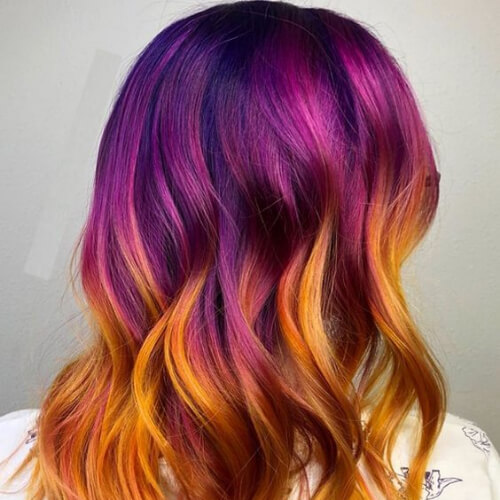 purple and copper hair color for summer