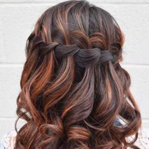 red highlights waterfall braid with curls