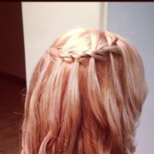 rose gold waterfall braid with curls