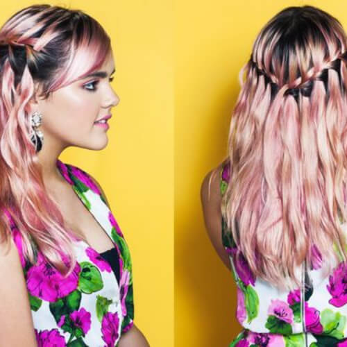 rose pink waterfall braid with curls