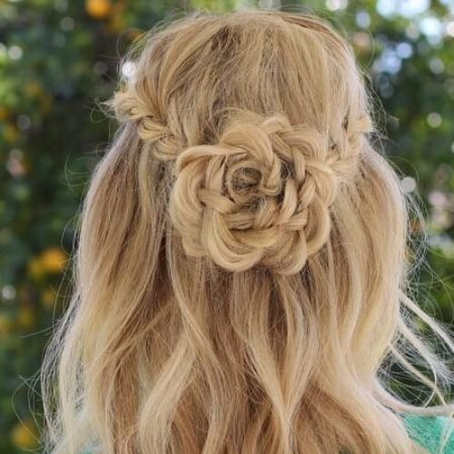 rose waterfall braid with curls