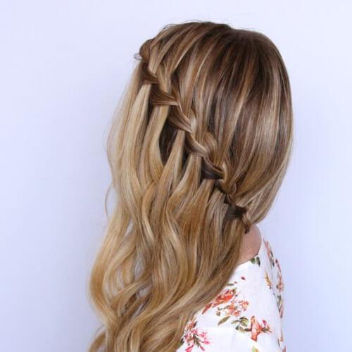 side waterfall braid with curls