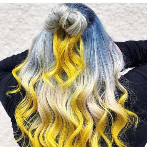 sky blue and sunny yellow hair color for summer