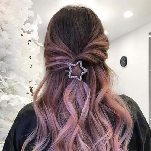 smokey pink hair color for summer