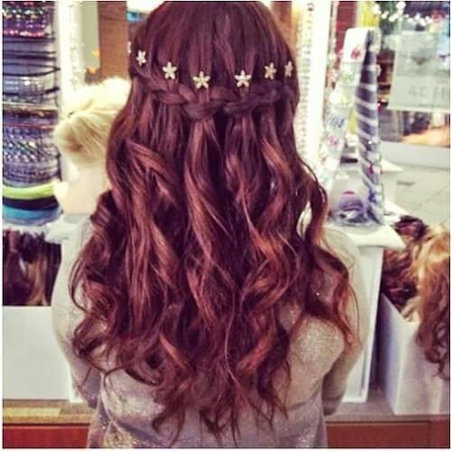 stars waterfall braid with curls