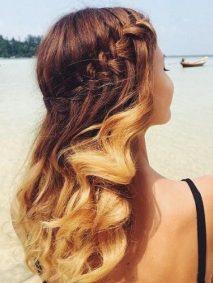 summer waterfall braid with curls