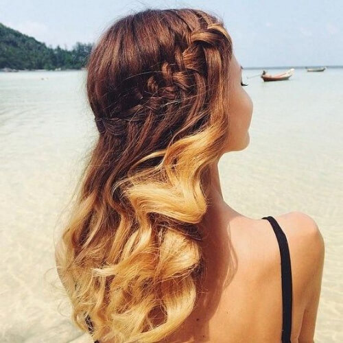 summer waterfall braid with curls