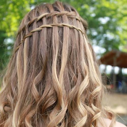 thin waterfall braid with curls