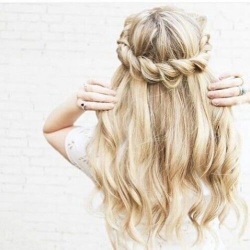 twisted waterfal braid with curls