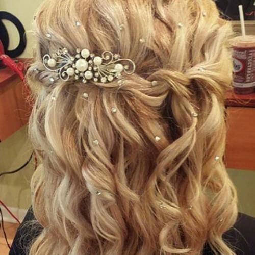 wedding waterfall braid with curls