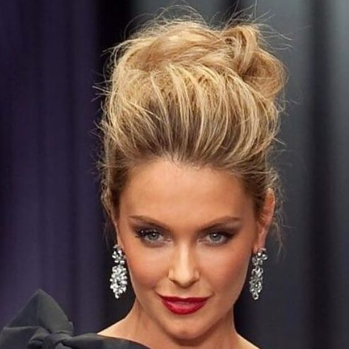 Jennifer Hawkins Messy Updo hairstyles for wedding guest
