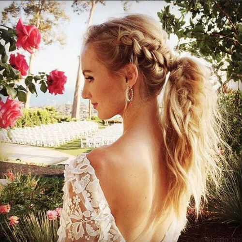 Plaited ponytail hairstyles for wedding guest