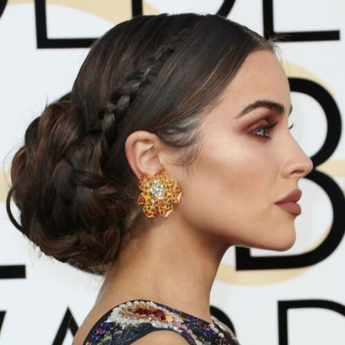 large low bun hairstyles for wedding guest