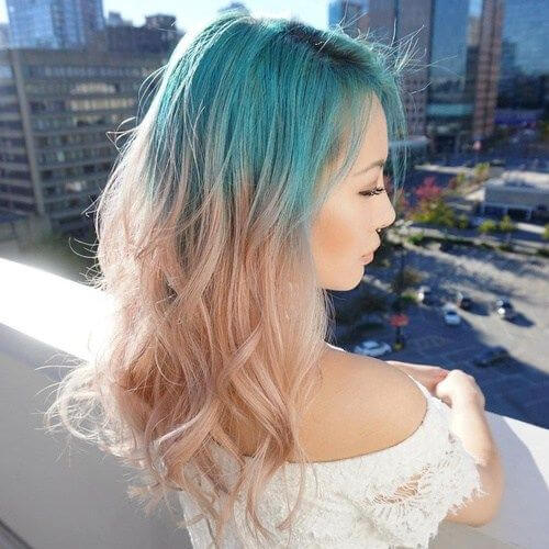 turquoise reverse ombre hair
