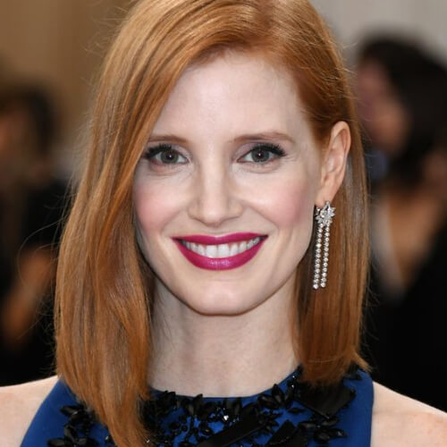 Jessica Chastain short straight hairstyles