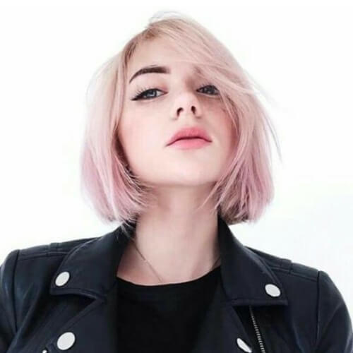 Pastel pink short straight hairstyles