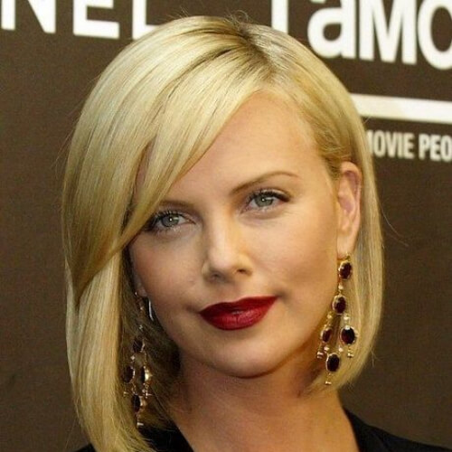 charlize theron short straight hairstyles