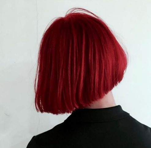 cherry red short straight hairstyles