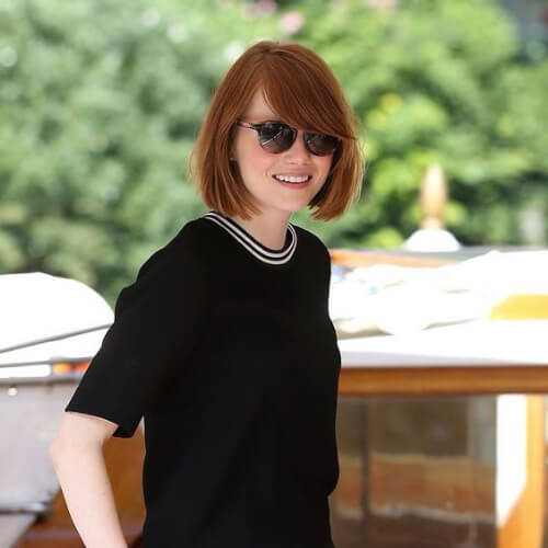 emma stone short straight hairstyles