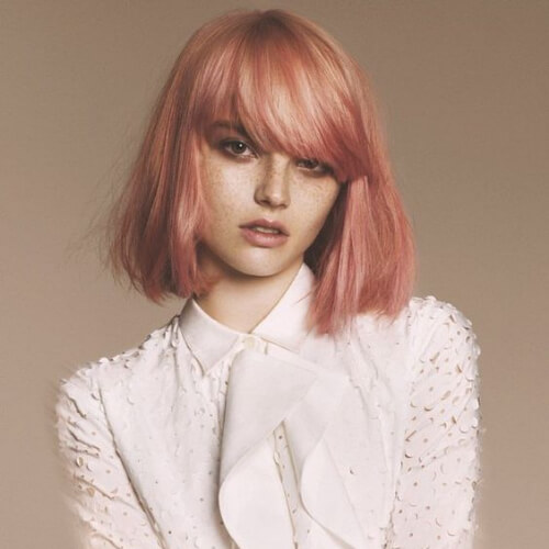 peach short straight hairstyles