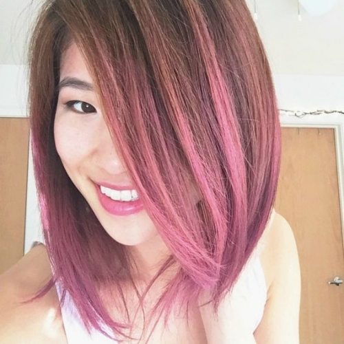 pink and purple short straight hair