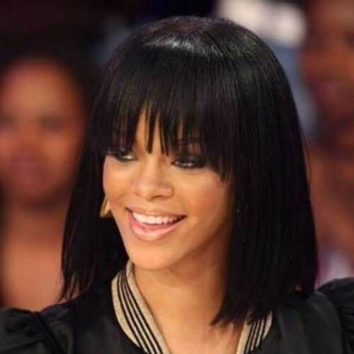 rihanna short straight hairstyles