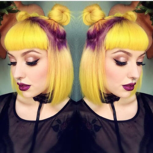 yellow purple short straight hairstyles
