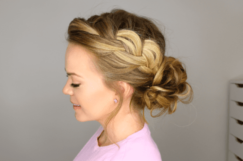 Side Headband Braid and Messy Bun