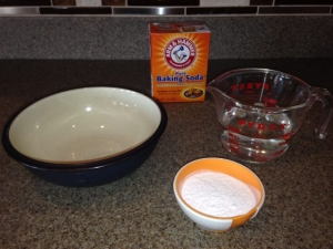 ingredients for a baking soda paste on a table