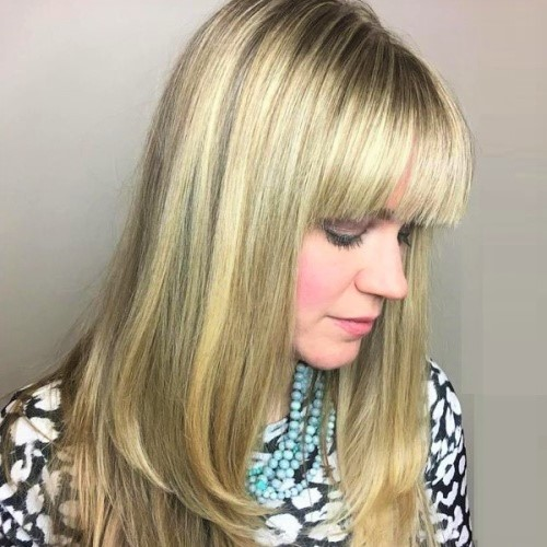 Blunt Bangs Layered Haircuts for Long Hair