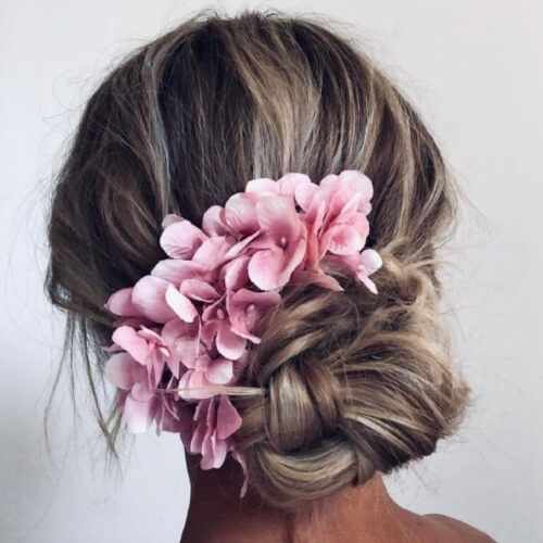 Boho Bun with Flowers